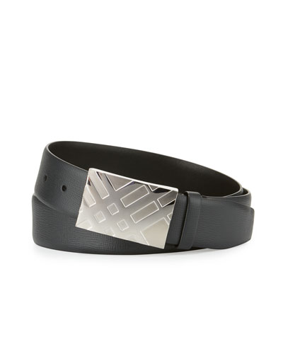 London Check-Buckle Leather Belt, Black