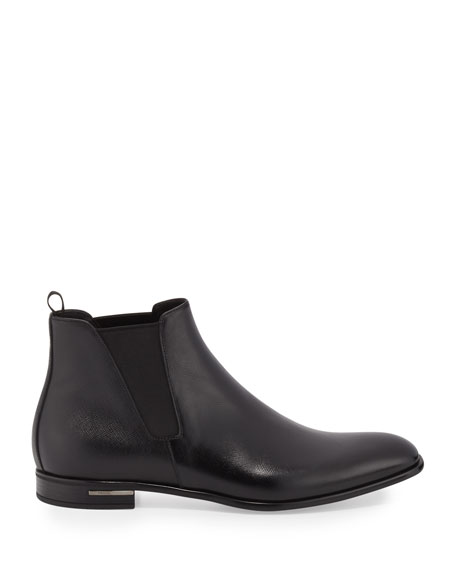 Saffiano Leather Chelsea Boots, Black