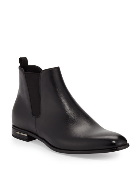 Prada Saffiano Leather Chelsea Boot, Black