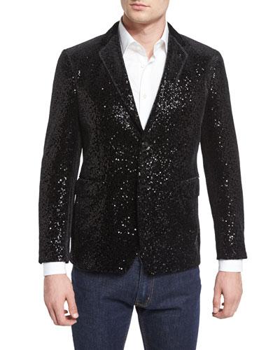 Allover-Sequin Sport Coat, Black