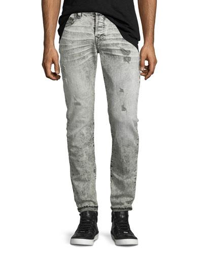 Rocco Distressed Slim-Fit Jeans, Worn Raven