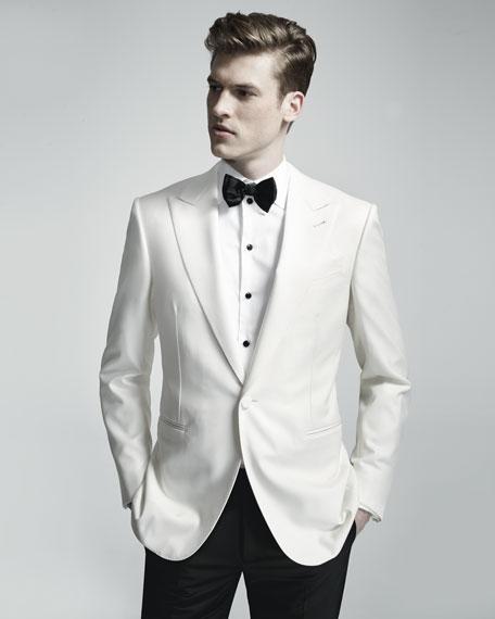 Satin-Lapel One-Button Dinner Jacket, White