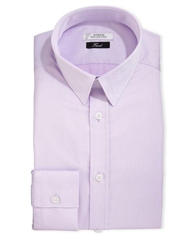 Button-Front Textured Dress Shirt, Lavender