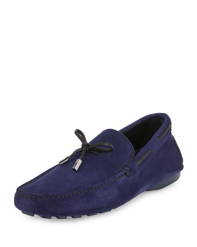 Leather-Trim Suede Driver, Purple