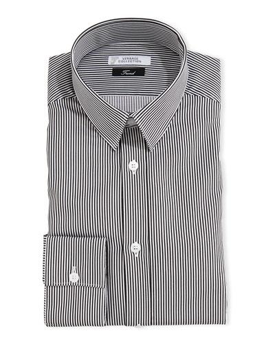 Thick-Striped Dress Shirt, White/Gray