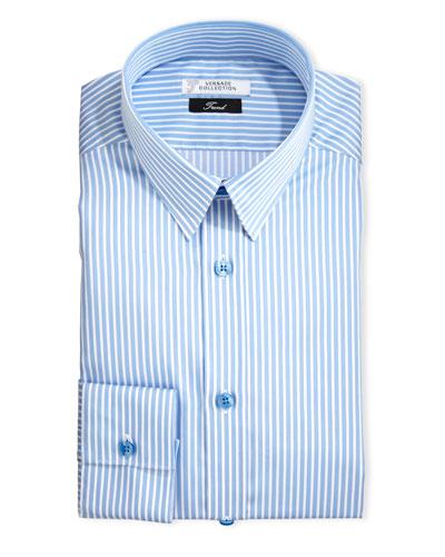 Thick-Striped Dress Shirt, Blue/White