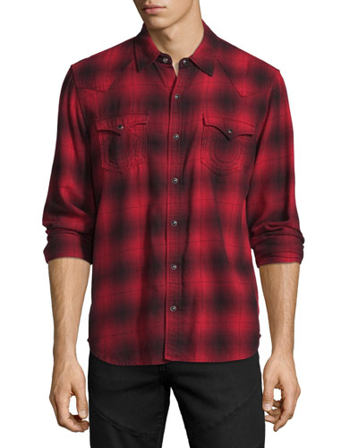 Western Plaid Long-Sleeve Shirt