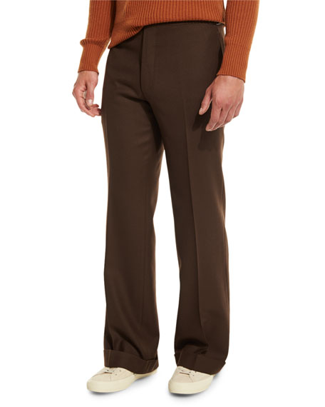 TOM FORD Solid Flat-Front Wool Trousers