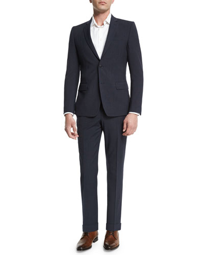 Birdseye Textured Two-Piece Suit, Navy