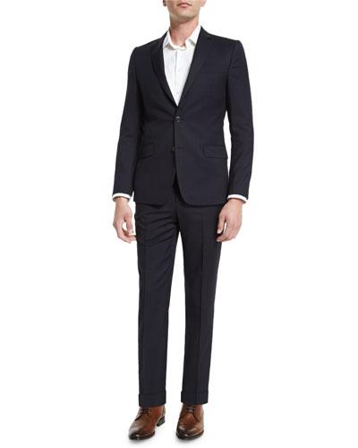 Wide-Stripe Two-Piece Wool Suit, Navy