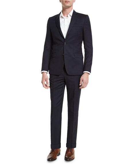 Versace Wide-Stripe Two-Piece Wool Suit, Navy