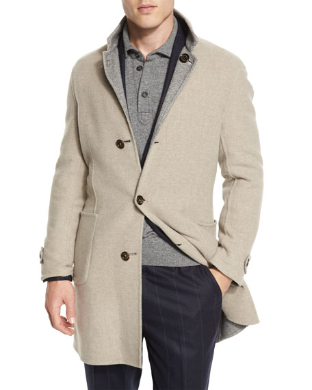 Reversible Wool-Blend Overcoat, Sand