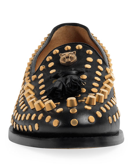 Sagan Studded Leather Loafer, Black