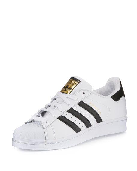 Adidas Men's Superstar Classic Leather Sneakers, White/Black
