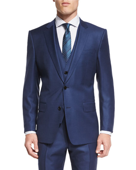 BOSS Hevans Three-Piece Wool Suit, Navy