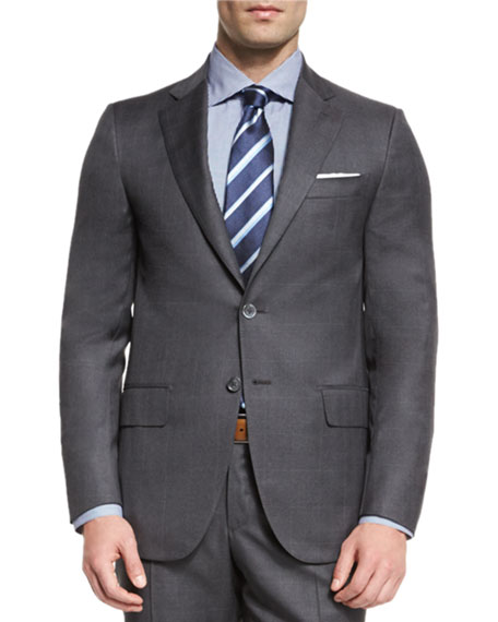 Super 130s Tonal Plaid Wool Two-Piece Suit, Gray