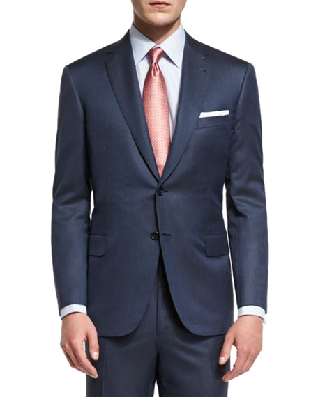 Super 160s Broken Twill Two-Piece Suit, Navy