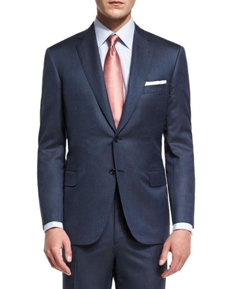 Brioni Super 160s Broken Twill Two-Piece Suit, Navy