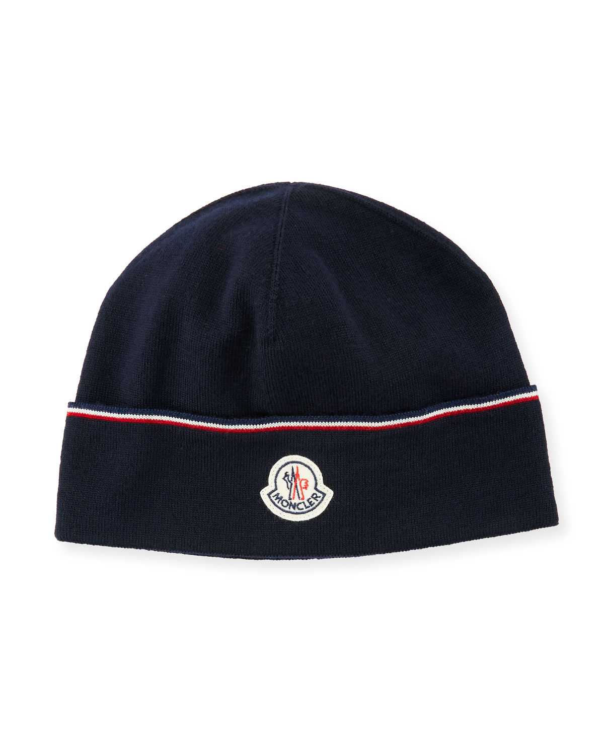 designer fashion f13da 3e30e Moncler Wool Striped Logo Beanie Hat, Navy