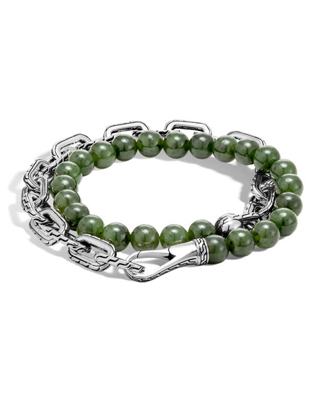 John Hardy Men's Batu Double-Wrap Bead Bracelet, Green
