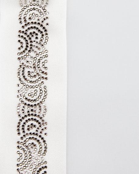 Stefano Ricci Crystal Placket Silk Tuxedo Shirt White