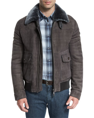 Plaid-Print Leather Bomber Jacket w/Shearling Lining, Multi