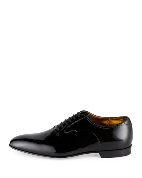 Garret Patent Leather Lace-Up Oxford, Black
