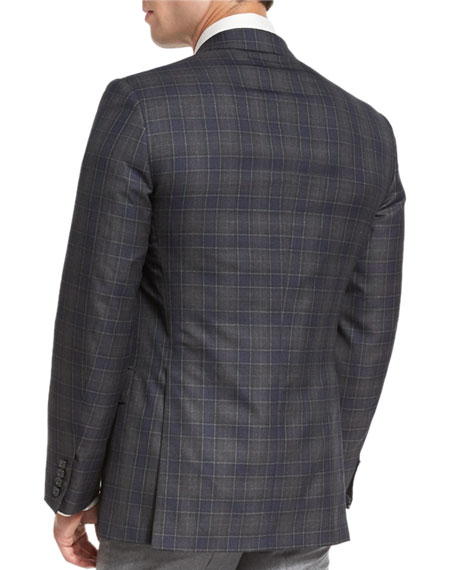 Plaid Two-Button Sport Coat, Gray/Blue