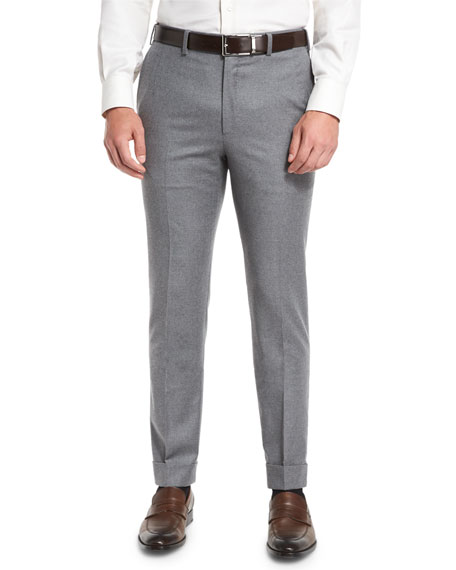 Brioni Classic-Fit Flannel Trousers, Light Gray
