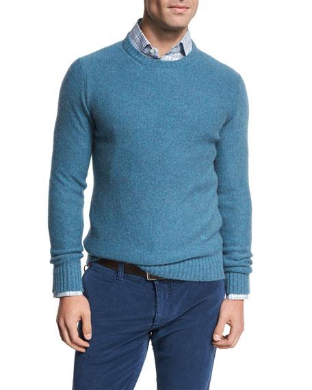 Isaia Cable-Knit Cashmere Sweater, Aqua