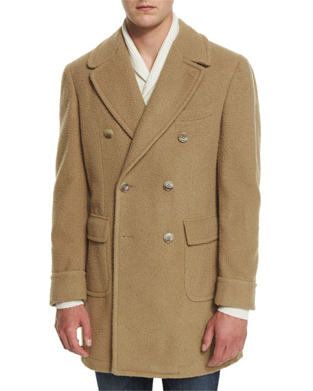 Double-Breasted Wool-Blend Pea Coat, Camel