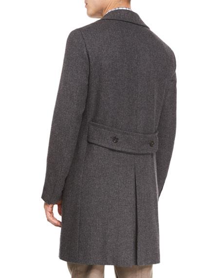 Double-Breasted Herringbone Wool Topcoat