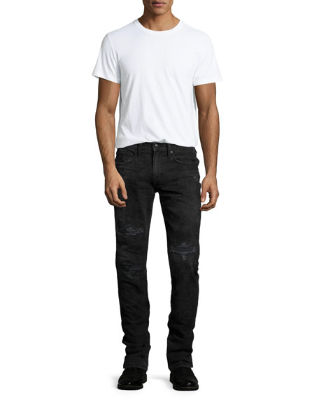 Brenner Slim-Fit Distressed Jeans, Black