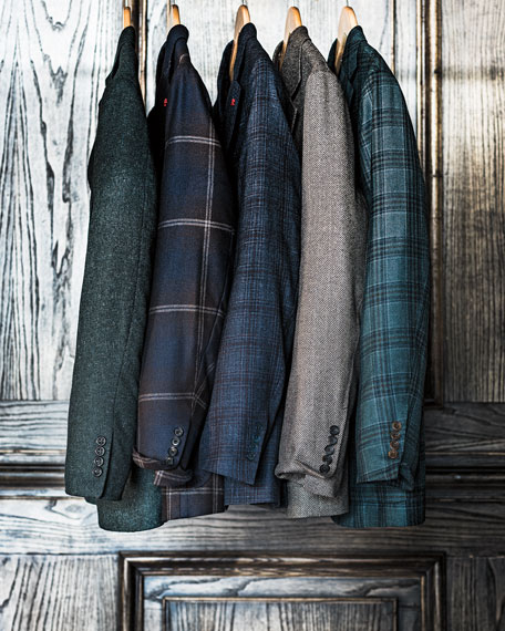 Plaid Cashmere Three-Button Sport Coat, Sea Green