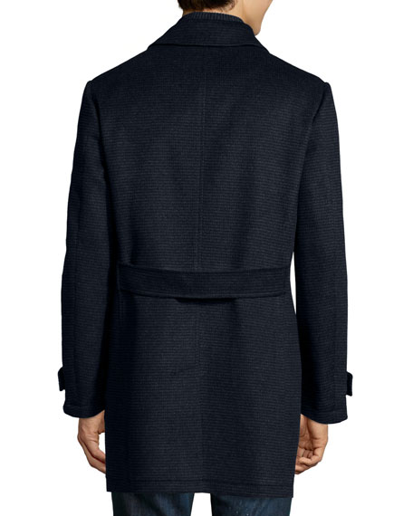 Check Wool Car Coat, Blue