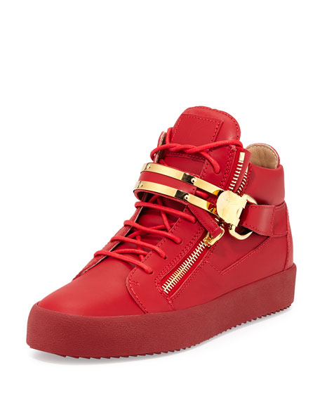 Double-Strap Leather Mid-Top Sneaker, Red
