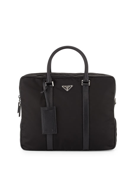Prada Nylon Double-Zip Briefcase, Black