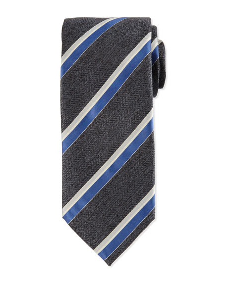 Brioni Woven Herringbone Grenadine Striped Silk Tie