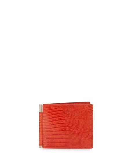 Lizard & Leather Bi-fold Wallet W/Money Clip