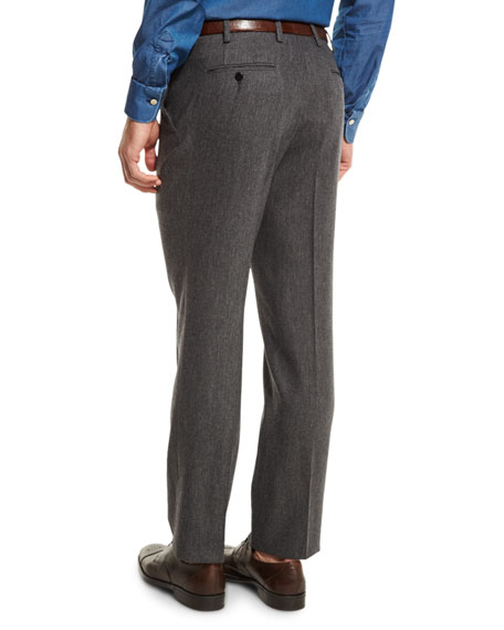 Wool Stretch Flannel Flat-Front Pants, Medium Gray