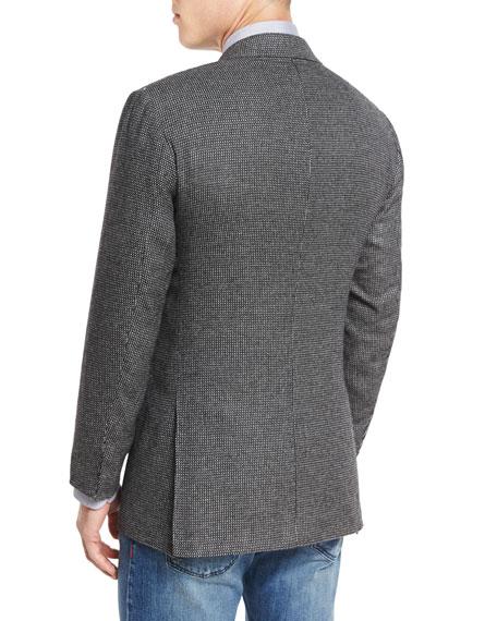 Check Three-Button Cashmere Sport Coat, White/Black