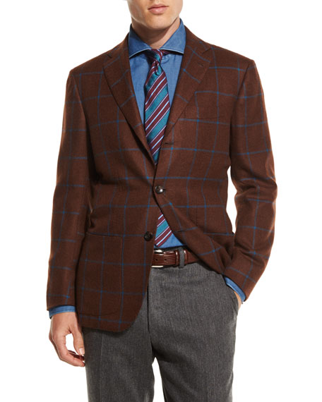 Windowpane Cashmere Two-Button Sport Coat, Tobacco
