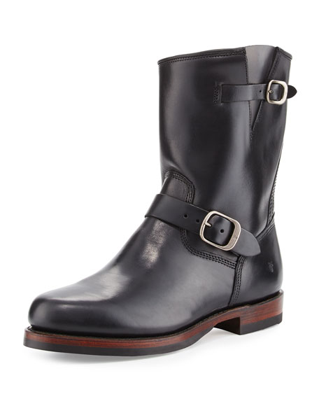 Frye John Addison Leather Engineer Boot, Black