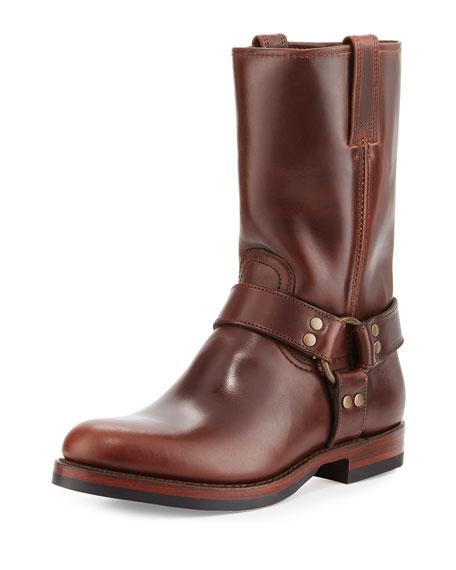 Frye John Addison Leather Harness Boot, Dark Brown