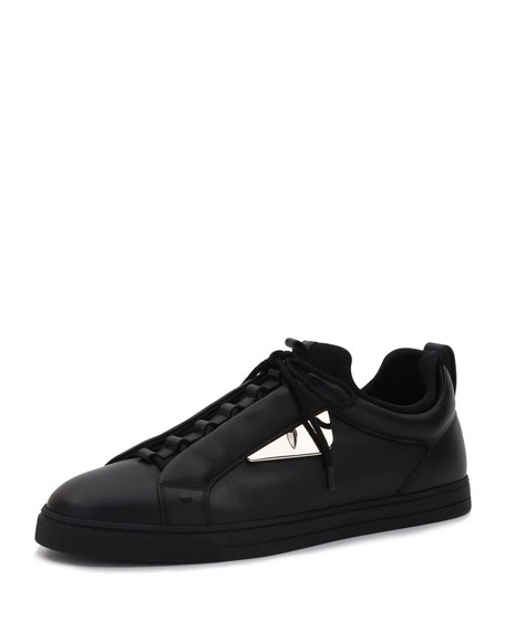 Monster Leather Low-Top Sneaker, Black