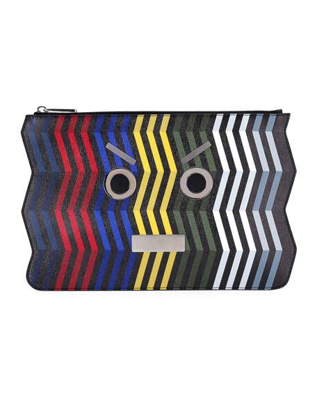 Fendi Face Chevron Leather Pouch, Multi