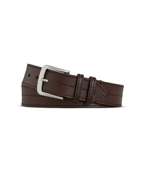 Men's Bridle Center Stitch Leather Belt