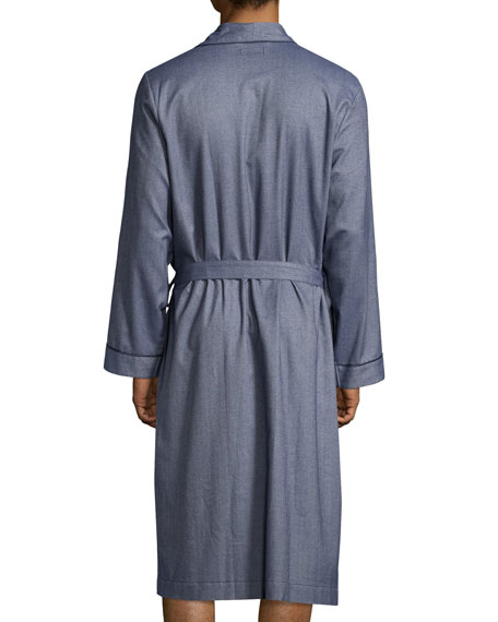 Tweed Robe with Piping, Blue