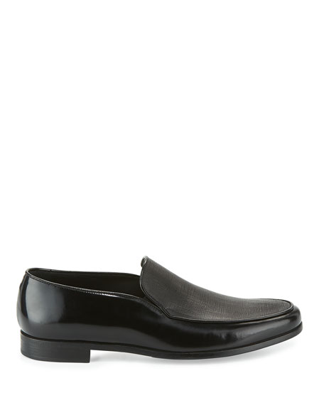 Saffiano Leather Venetian Loafer, Black