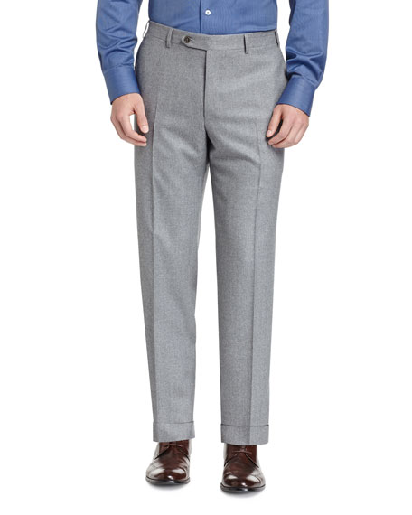 Canali Flannel Flat-Front Trousers, Light Gray